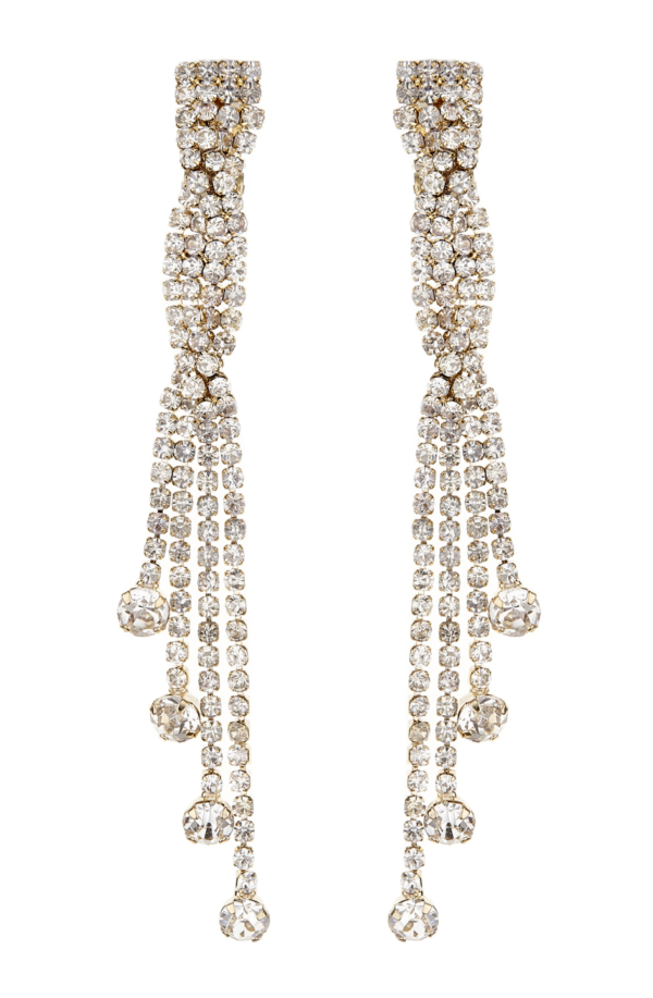 Clip On Earrings - Cabot G - gold drop earring with clear crystals and stones