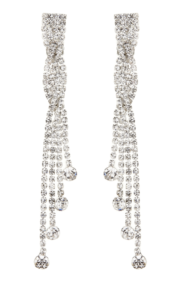 Clip On Earrings - Cabot S - silver drop earring with clear crystals and stones
