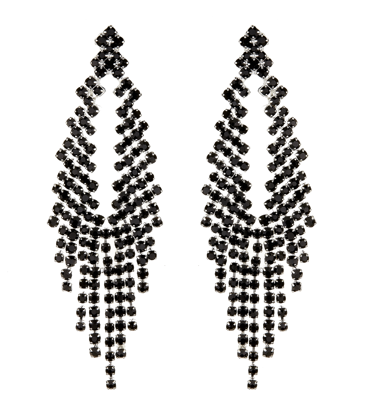 Clip On Earrings - Caca B - silver chandelier earring with black crystals