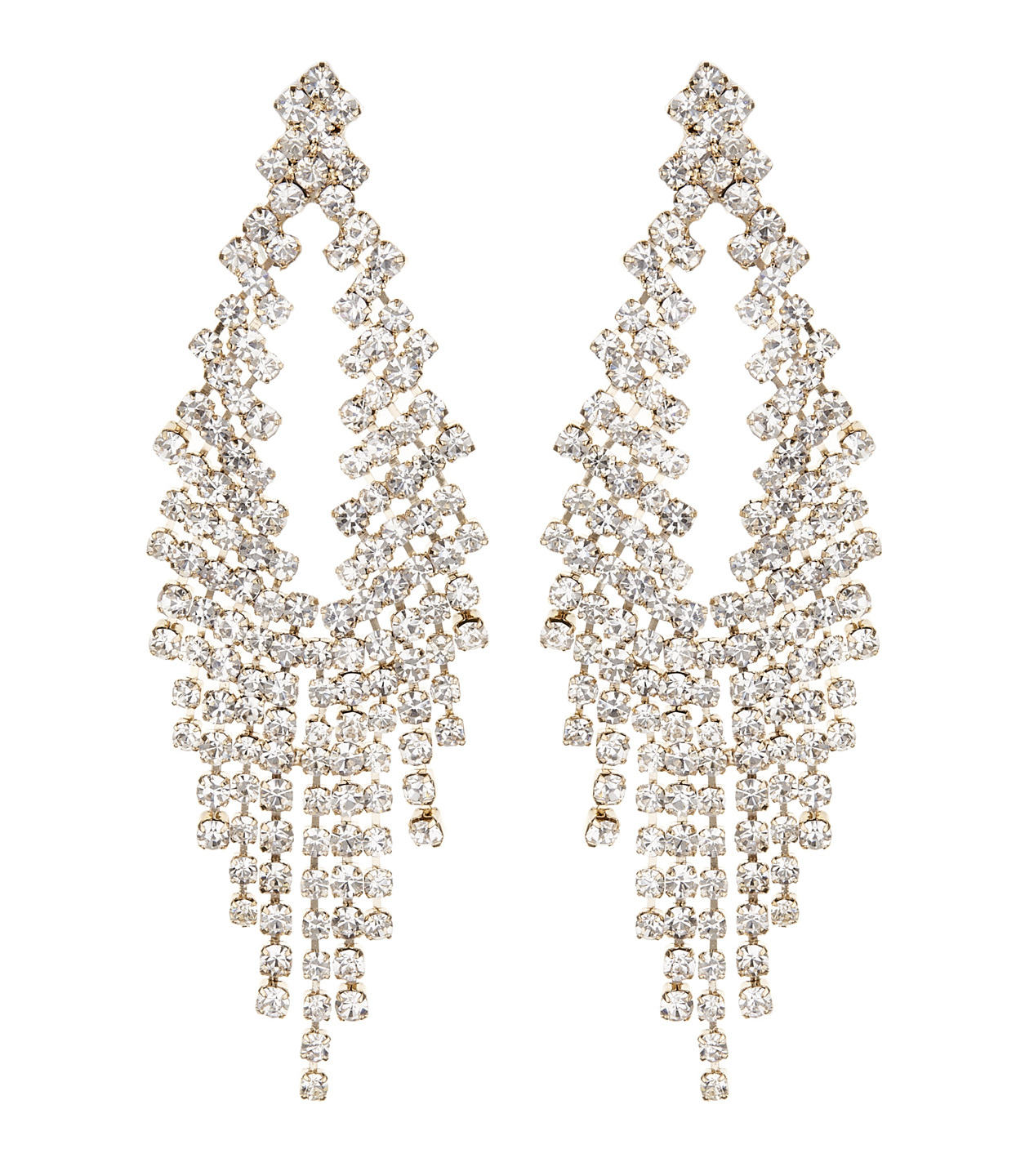 Clip On Earrings - Caca G - gold chandelier earring with clear crystals