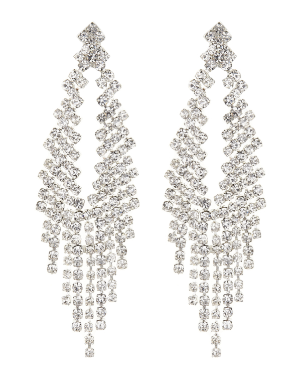 Clip On Earrings - Caca S - silver chandelier earring with clear crystals