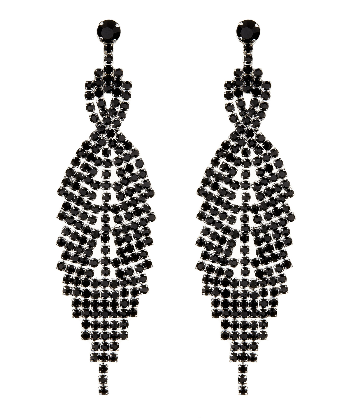 Clip On Earrings - Cadis B - silver drop earring with black crystals
