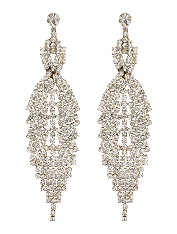 Clip On Earrings - Cadis G - gold drop earring with clear crystals