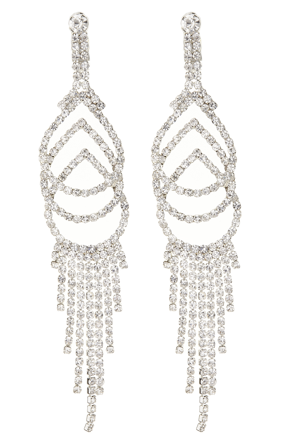 Clip On Earrings - Cael S - silver chandelier earring with clear crystals