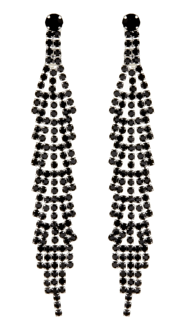 Clip On Earrings - Cain B - silver drop earring with black crystals