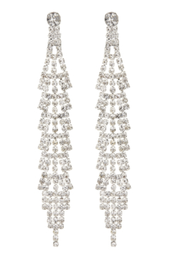 Clip On Earrings - Cain S - silver drop earring with clear crystals