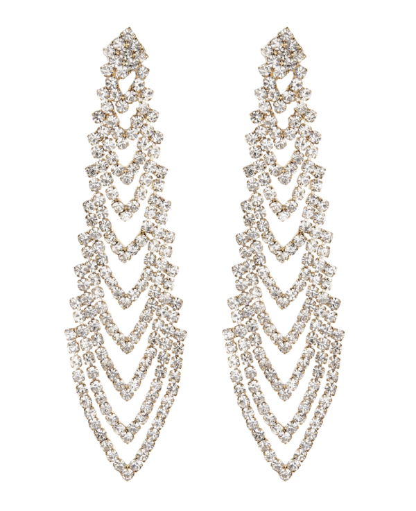 Clip On Earrings - Calla G - gold chandelier earring with clear crystals