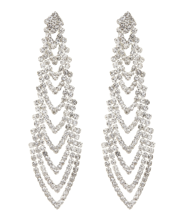 Clip On Earrings - Calla S - silver chandelier earring with clear crystals