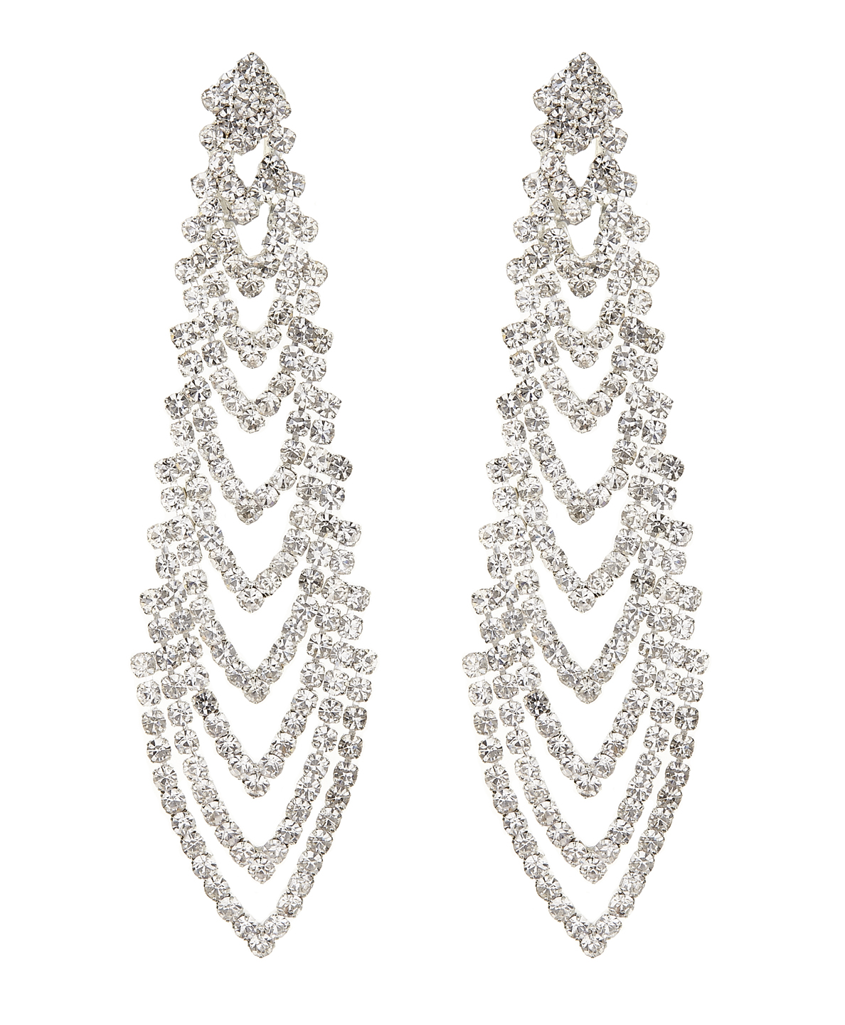 Calla S silver chandelier earring with clear crystals CLIP ON EARRINGS