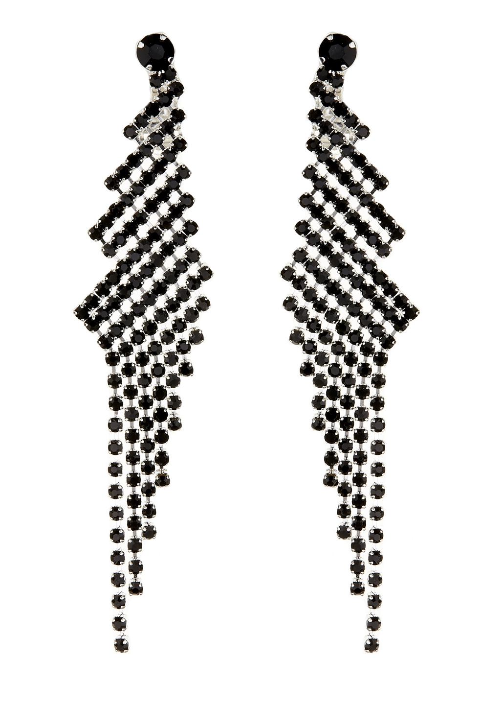 Clip On Earrings - Candra B - silver chandelier earring with black crystals