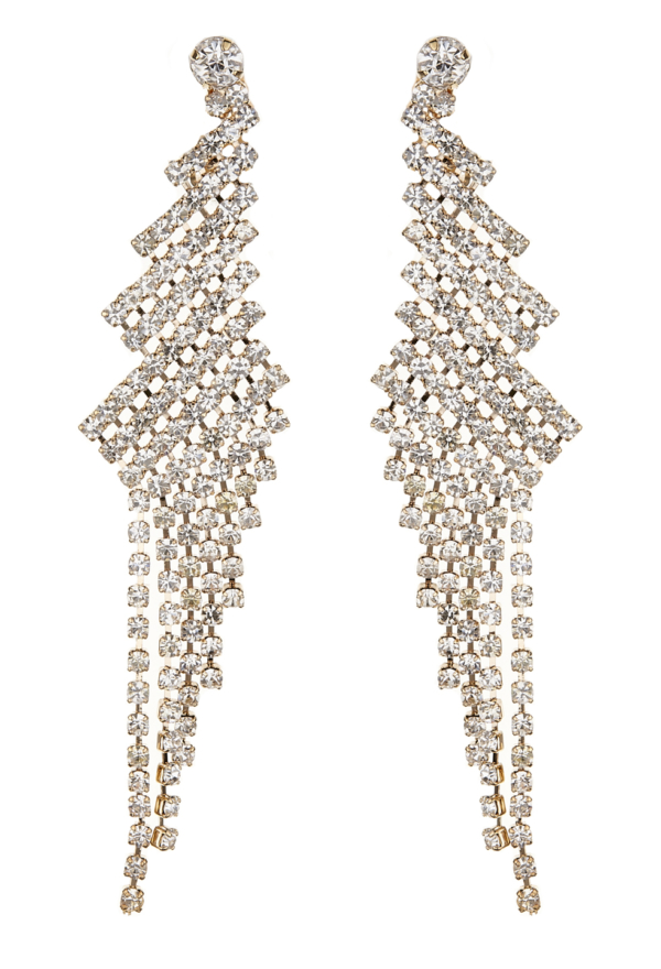 Clip On Earrings - Candra G - gold chandelier earring with clear crystals