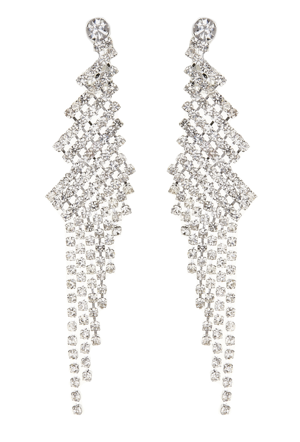 Clip On Earrings - Candra S - silver chandelier earring with clear crystals