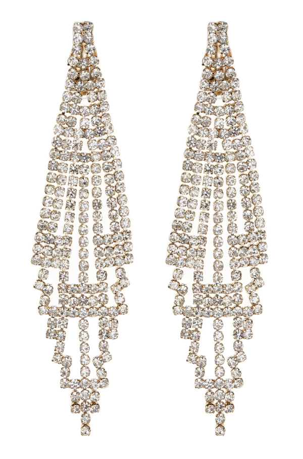 Clip On Earrings - Canei G - gold chandelier earring with clear crystals