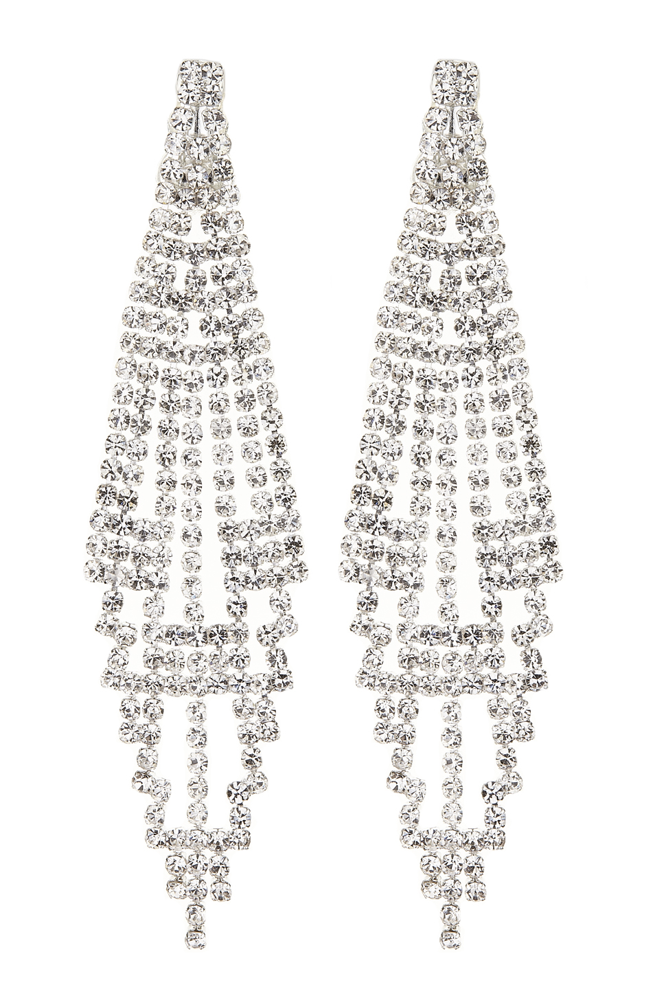 Clip On Earrings - Canei S - silver chandelier earring with clear crystals