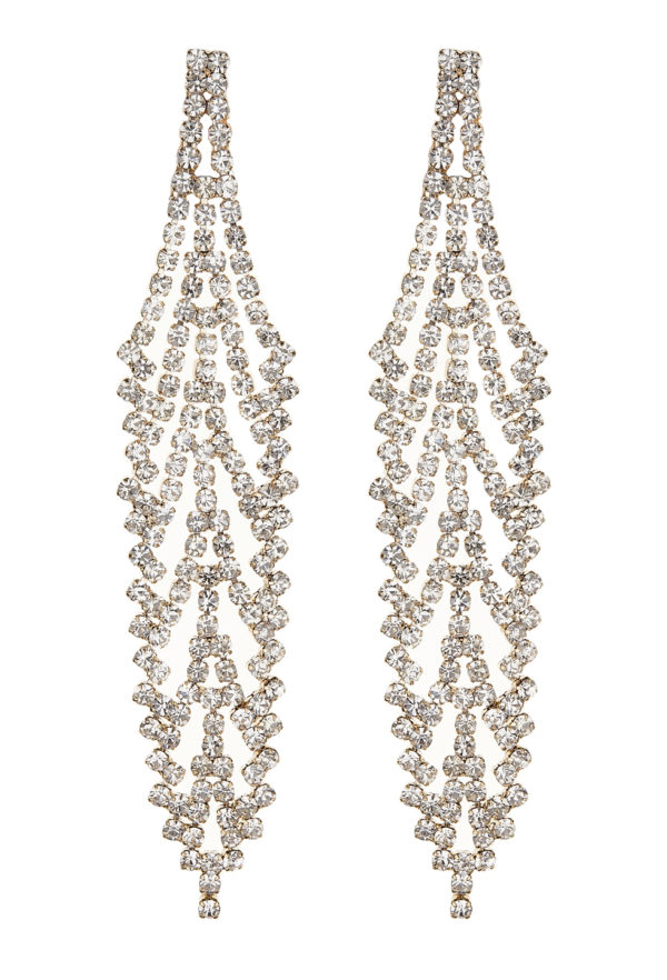 Clip On Earrings - Carew G - gold chandelier earring with clear crystals