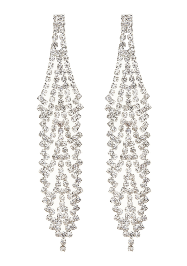 Clip On Earrings - Carew S - silver chandelier earring with clear crystals