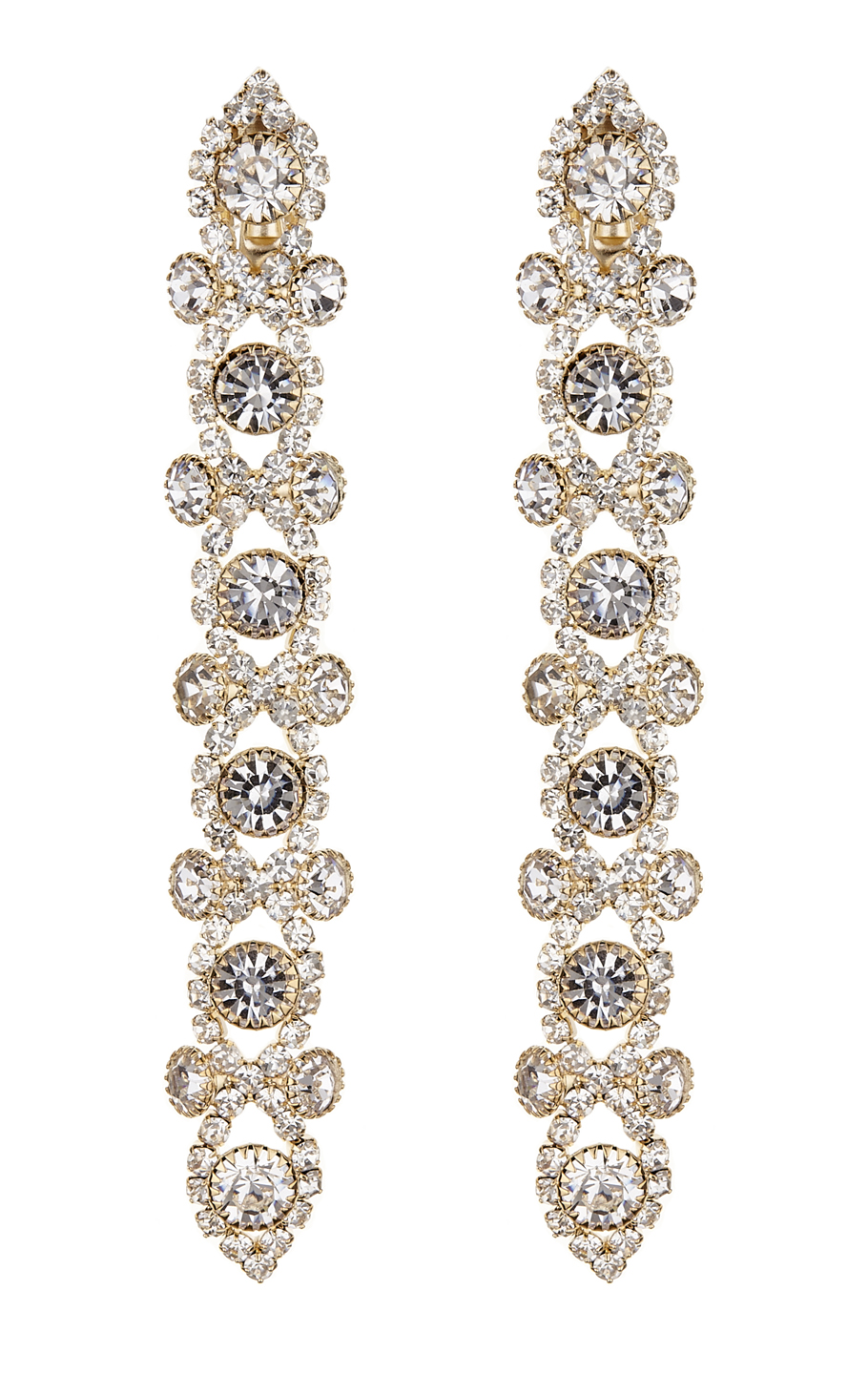 Clip On Earrings - Cassidy G - gold drop earring with clear crystals
