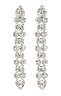Clip On Earrings - Cassidy S - silver drop earring with clear crystals