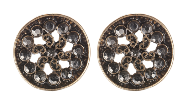 Clip On Earrings - Dacey - antique gold earring with black enamel and crystals