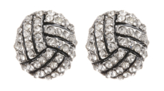 Clip On Earrings - Dahlia - silver knot earring with clear crystals and black enamel