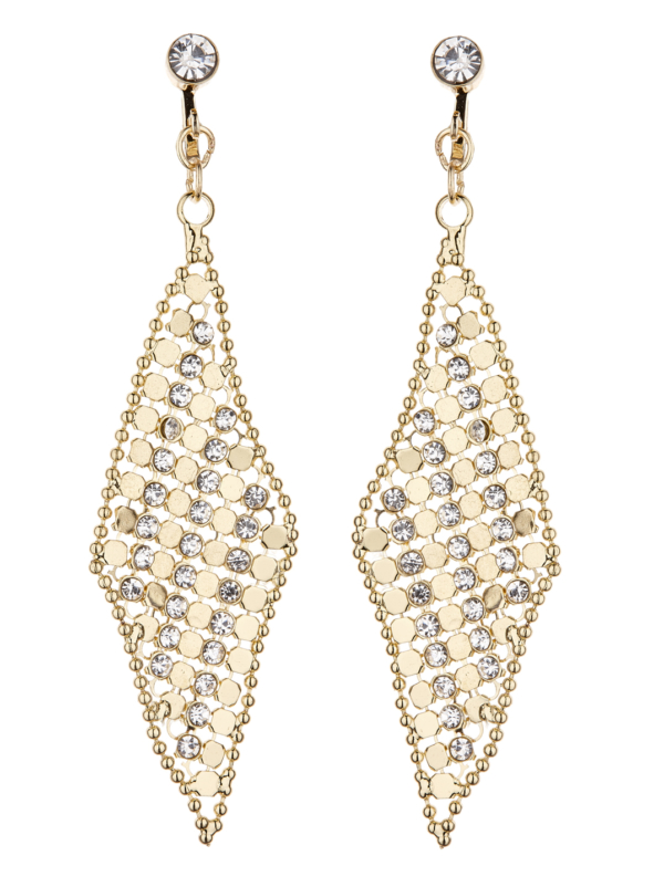 Clip On Earrings - Daisy G - gold drop earring with clear crystals