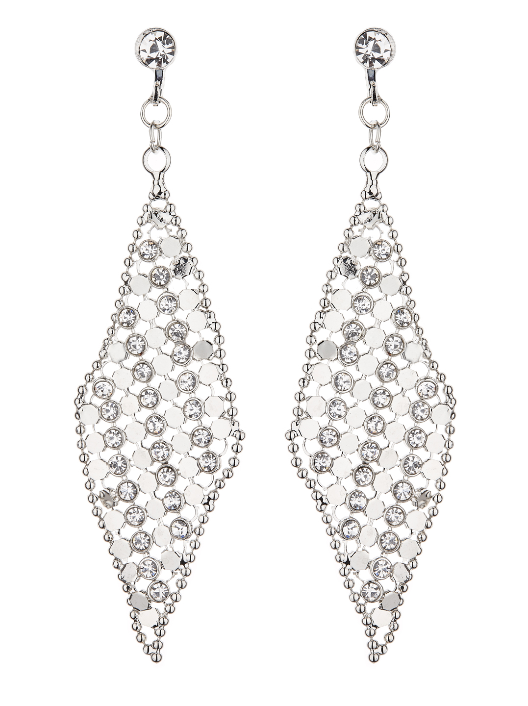 Clip On Earrings - Daisy S - silver drop earring with clear crystals