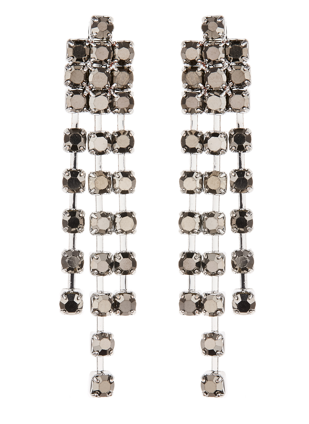 Clip On Earrings - Dame - silver drop earring with grey crystals