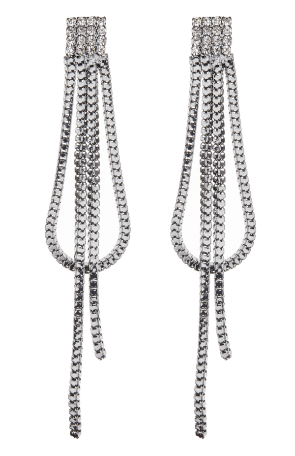 Clip On Earrings - Daron - gunmetal grey earring with crystals and strands
