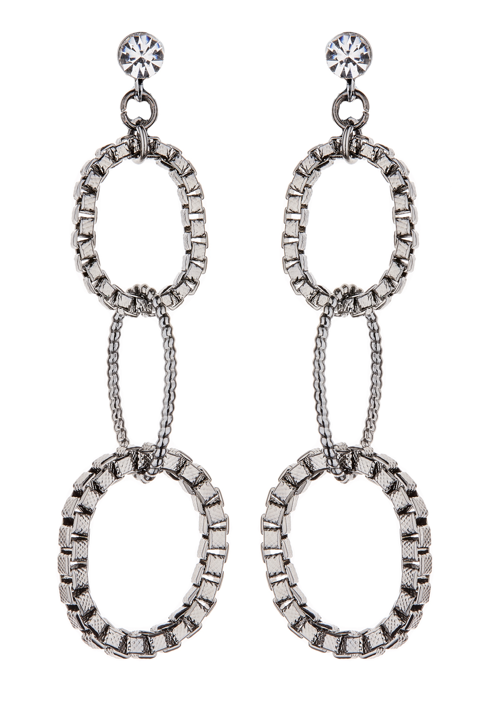 Clip On Earrings - Kaiya GM - gunmetal drop earring with three linked rings