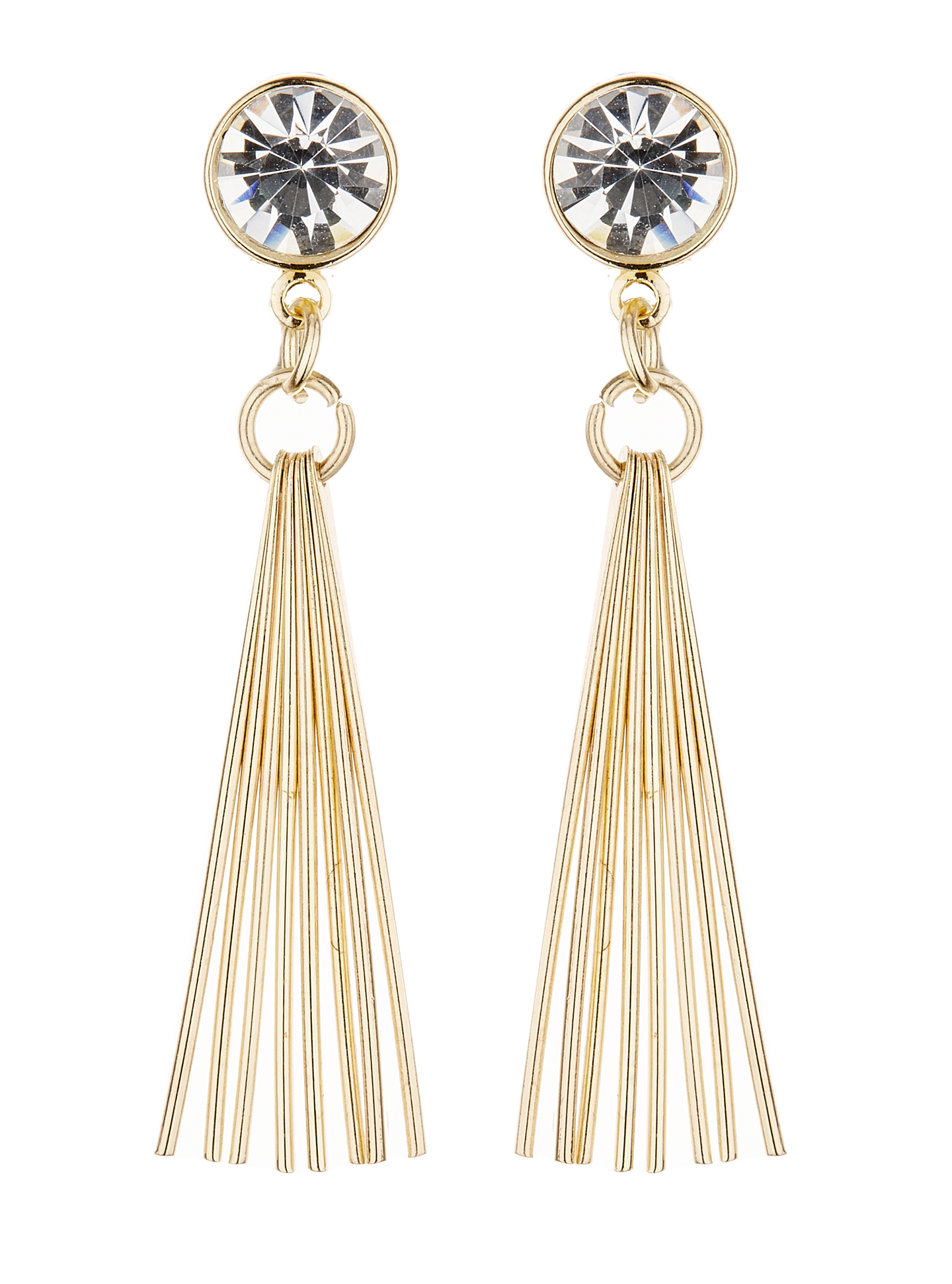 Clip On Earrings - Kala - gold drop earring with a large clear crystal