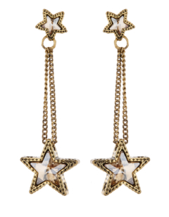 Clip On Earrings - Kalidas G - gold drop earring with crystal stars