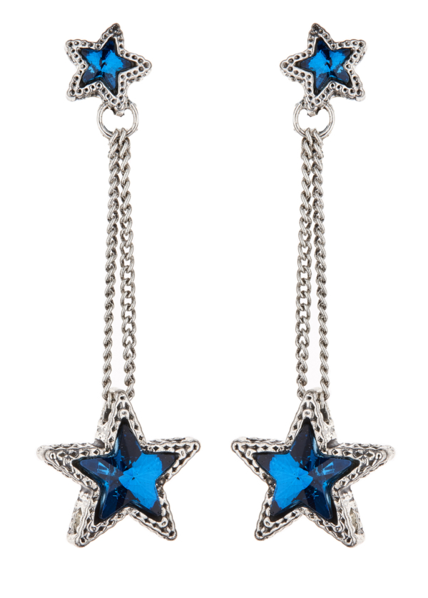 Clip On Earrings - Kalidas S - silver drop earring with blue crystal stars