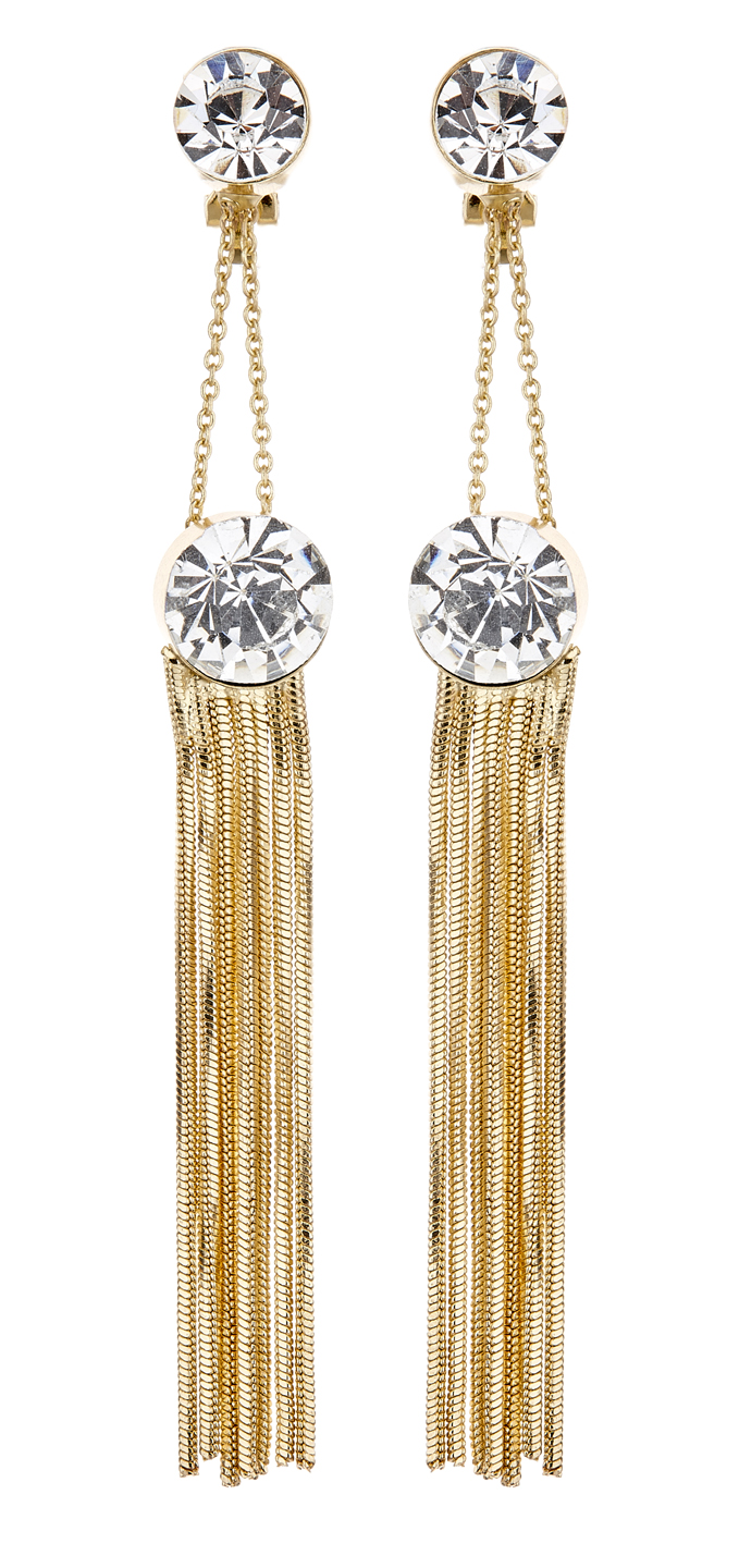 Clip On Earrings - Kalima - gold drop earring with chain linked crystals and strands