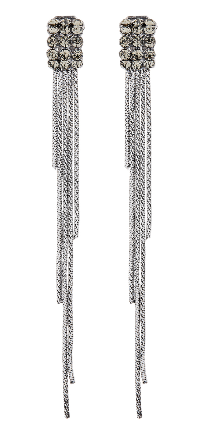 Clip On Earrings - Kallan - gunmetal grey earring with crystals and strands