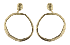 Clip On Earrings - Kama G - antique gold hoop earring