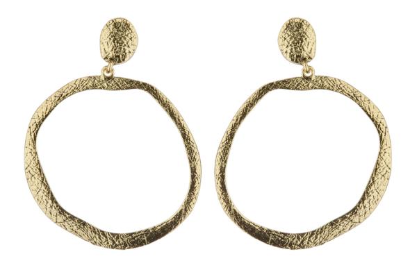 Clip On Earrings - Kama G - antique gold hoop earring