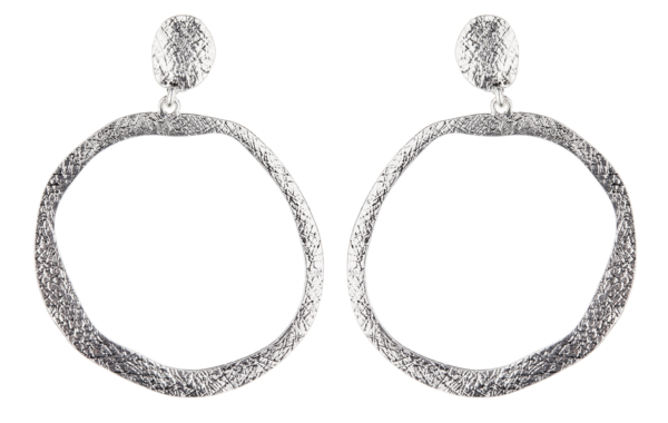 Clip On Earrings - Kama S - antique silver hoop earring