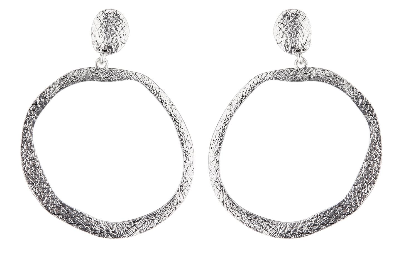 Clip On Earrings - Kama S - antique silver hoop earring