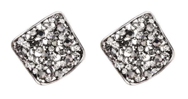 Clip On Earrings - Kamali - antique silver stud earring with clear and grey crystals