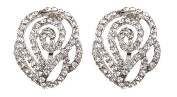 Clip On Earrings - Kamin - silver swirl stud earring with clear crystals