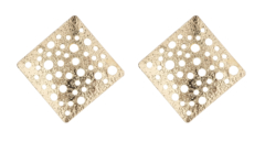 Clip On Earrings - Kane G - gold earring with punched holes