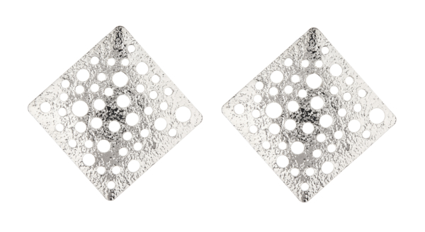 Clip On Earrings - Kane S - silver earring with punched holes