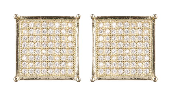 Clip On Earrings - Nadia G - gold luxury stud earring with clear crystals