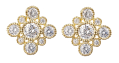 Clip On Earrings - Noma G - gold luxury stud earring with clear crystals