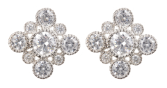 Clip On Earrings - Noma S - silver luxury stud earring with clear crystals
