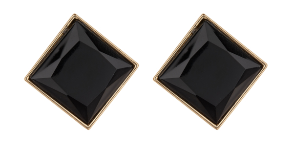 Clip On Earrings - Bree B - gold stud earring with a large black resin stone