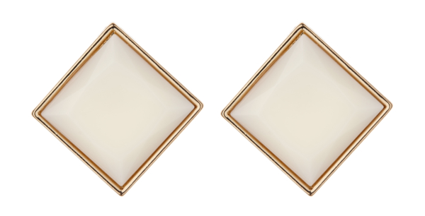 Clip On Earrings - Bree W - gold stud earring with a large cream resin stone