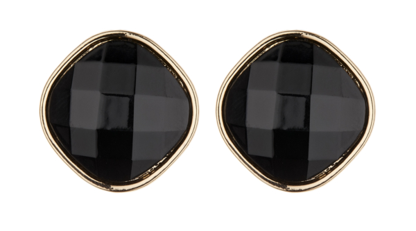 Clip On Earrings - Bonnie - gold stud earring with a large black resin stone