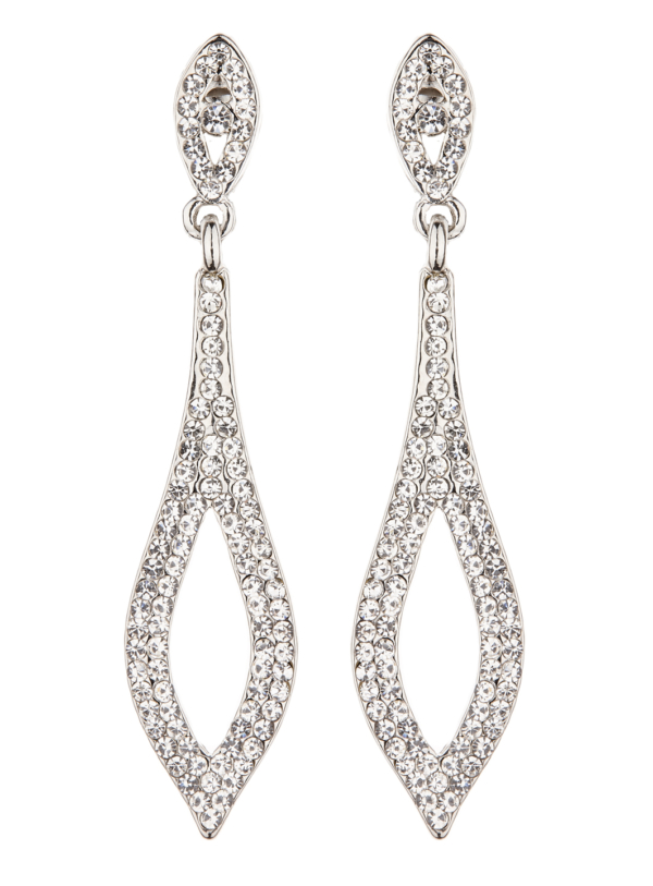 Clip On Earrings - Banba S - silver drop earring with clear crystals