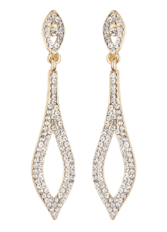 Clip On Earrings - Banba G - gold drop earring with clear crystals